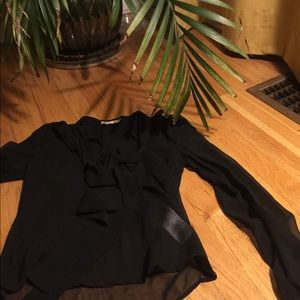 Only Tops - Black sheer bow blouse